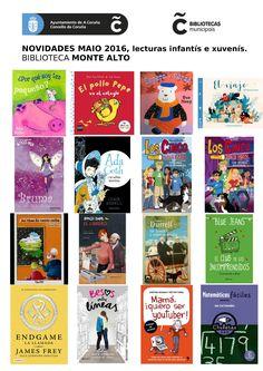 Libros novos do mes de maio na sala Infantil e Xuvenil na biblioteca Monte Alto.