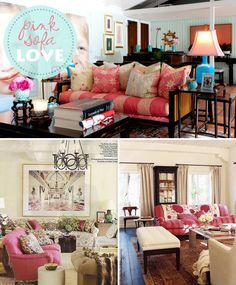 Peonies and Brass: obsessed: pink sofa spectacular