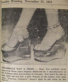 """Found this in an old 1951 newspaper!  Floating Steppers"""" (Platform shoes) with fish swimming in the soles!"""