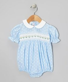 Take a look at this Light Blue Smocked Geometric Bubble Bodysuit - Infant by Silly Goose on #zulily today!