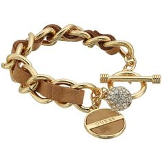 GUESS Faux Ostrich Woven Through Chain Toggle Bracelet (Gold/Cognac)... ($28) ❤ liked on Polyvore featuring jewelry, bracelets, toggle charm bracelet, gold toggle bracelet, gold jewelry, gold chain jewelry and fake gold jewelry