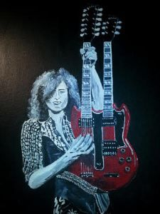Jimmy Page with his double neck guitar done on canvas.   Work done by Bruce J Schmalfuss
