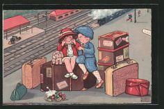 carte postale ancienne: CPA Illustrateur Margret Boriss: des enfants avec Koffern am La Gare