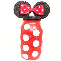 Minnie Mouse Bank, Disney Bank, Red Jar, Minnie Mouse Jar, Children's Bank, Mason Jar Bank, Disney Bank, Polka Dot Minnie Mouse