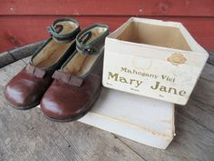 Mary Janes. little GIRLS SHOES. Mary Jane Shoes. Single Button Strap. 1920s. Shoes w/ Original Box. size 5 1/2 E. Photo Shoot. Studio Prop by OurVintageWay on Etsy