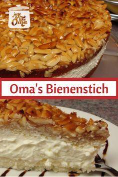 """Oma's Bienenstich Recipe (Bee Sting Cake) ❤️ Bienenstich Cake: Mike's birthday cake, a German """"Bee Sting"""" cake.quick-german-… Related posts: No related posts. Just Desserts, Delicious Desserts, Yummy Food, Bienenstich Cake, Austrian Recipes, German Recipes, Austrian Desserts, German Bee Sting Cake, Weight Watcher Desserts"""