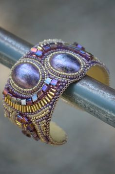 Royal Bead Embroidery Cuff Purple Gold by ashthetic on Etsy, $135.00