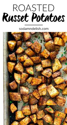 These roasted russet potatoes are tossed in olive oil with herbs and seasonings then roasted to perfection in your oven. These roasted russet potatoes are tossed in olive oil with herbs and seasonings then roasted to perfection in your oven. Diced Potatoes In Oven, Roasted Potatoes Russet, Russet Potato Recipes, Potato Wedges Baked, Seasoned Potatoes, Roasted Potato Recipes, Healthy Potatoes, Easy Potato Recipes, Gourmet