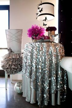 Love this sequins table linen! The chair cover is awesome too!! This would be a great thing for the cake table