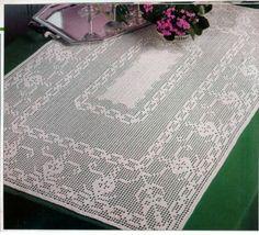 Crochet: Rectangular tablecloth fillet crochet