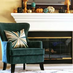 Our Home // Fall Mantel + Teal Pumpkins Fall Crafts For Adults, Teal Pumpkin Project, Faux Pumpkins, My Ideal Home, Thanksgiving, Seasonal Decor, Home Projects, Interior Design, Ideas