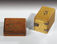 A MINIATURE LACQUER CABINET (KODANSU), JAPAN, EDO PERIOD, 18TH/19TH CENTURY; TOGETHER WITH A SMALL LACQUER WRITING BOX AND COVER (SUZURIBAKO), JAPAN, EDO PERIOD, 18TH/19TH CENTURY