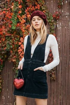 Old School Love Jumper. love this outfit! Overall dress outfits Fall Outfits, Cute Outfits, Fashion Outfits, Fashion Tips, Fashion Design, Fashion Trends, Fashion Videos, Fashion 2020, Dress Outfits