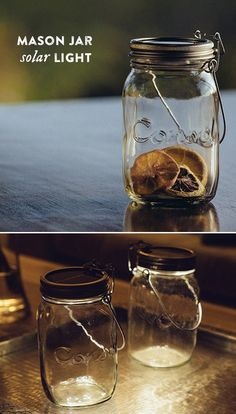 Krista, this would be SO cool for SSS as people are leaving!!!  Line the pathways with them??   It's sunshine in a jar. This 100% recyclable Mason jar holds four solar-powered LEDs; inside the lid are solar cells. Simply place it in direct sunlight to charge the batteries, then flip the magnetic switch for hours of bright, soft light.