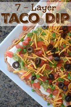 & & Yep, football season is coming! Watching football with family and friends is the perfect excuse to gorge ourselves on party food! In my opinion, taco dip is one of the… 7 Layer Taco Dip, Layered Taco Dip, Layer Dip, Mexican Dishes, Mexican Food Recipes, Homemade Taco Seasoning Mix, Appetizer Recipes, Dip Recipes, Recipies