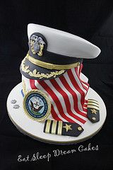2011 - A cake to celebrate a US naval Officer's promotion to Commander. & base cakes with a carved and cake cap. All mud cake with Dark Chocolate Ganache Army Cake, Military Cake, Military Party, Military Retirement Parties, Retirement Cakes, Retirement Ideas, Cupcakes, Cupcake Cakes, Marine Cake