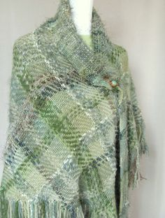 Handwoven Sage Green Triangular Wrap by FiberLingo on Etsy, $185.00