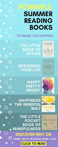 This summer read these books to help you transform your life and become happier! Check out the full list on http://www.HelloPeacefulMind.com