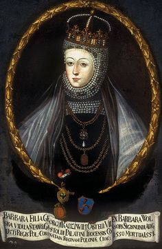 Queen Barbara Radziwiłł in coronation robes and a wimple embroided with pearls.