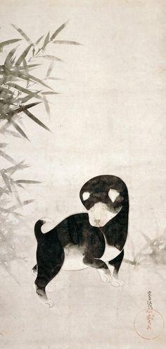 俵屋宗達「犬図」tawaraya Sotatsu. Puppy. Japanese hanging scroll.