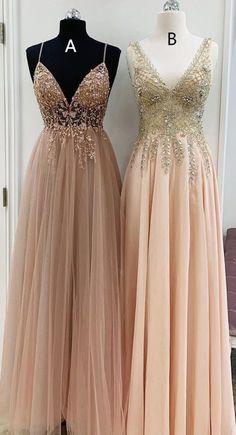 Party dress long - Elegant v neck champagne long prom dresses formal dresses – Party dress long Dresses Elegant, Pretty Dresses, Sexy Dresses, Formal Dresses, Awesome Dresses, Work Dresses, Fashion Dresses, Cheap Sweet 16 Dresses, Casual Dresses