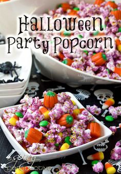 What's more enticing than a big bowl party popcorn? A spooky Halloween Popcorn Mix that's sweet and salty!