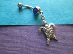 belly button jewelry sea turtle with dark blue stone by sindys