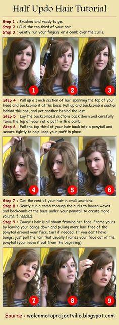 Half Updo Hair Tutorial