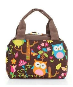 Owl Print Insulated Lunch Tote Bag (Brown)