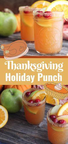 Thanksgiving Punch, Easy Thanksgiving Recipes, Easy Holiday Recipes, Thanksgiving Treats, Holiday Punch, Thanksgiving Sides, Fall Punch Recipes, Fall Recipes, Thanksgiving Drinks Non Alcoholic