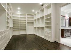 Via Candy's Dirt: Dallas new build master closet Master Bedroom Closet, Home Bedroom, Walk In Wardrobe, Walk In Closet, Closet Layout, House Essentials, Closet Lighting, Closet Space, Closet Rooms