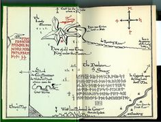 A reproduction of Bilbo's copy of Thrór's map, received and delivered by one J.R.R. Tolkien from There and Back Again, the first part of the discovered manuscript known as the Red Book of Westmarch.