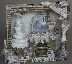 Hello,I am here to share with you, a shadow box I did, using lots of Dusty Attics Amazing chipboard pieces. Vintage Christmas Crafts, Country Christmas Decorations, Shabby Chic Christmas, Christmas Projects, Handmade Christmas, Altered Canvas, Altered Art, Altered Boxes, Christmas Mix