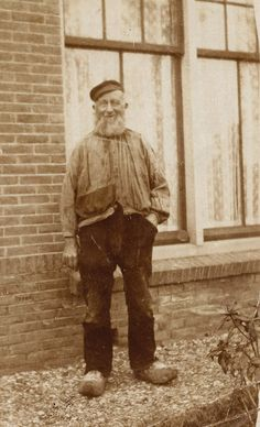 +~+~ Vintage Photograph ~+~+  Cheerful fisherman in his Dutch wooden clogs.