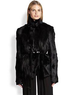 Donna Karan - Belted Goat-Fur Coat SAKS $2340