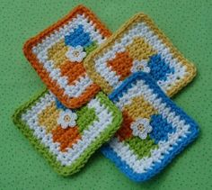 Four Square Coaster Crochet Pattern - FREE - Love the colors, I wonder do people still use coasters. I remember the coasters in Grandma's house growing up.