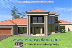 Overall Dimensions- x mBathrooms- 2 Car GarageArea- Square meters Free House Plans, Best House Plans, Modern House Plans, Dream Homes, My Dream Home, Double Storey House Plans, House Plans South Africa, African House, Building Costs