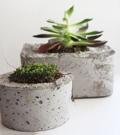 DIY Decor Trend: Concrete. --- Am i crazy or is the concrete pots and concrete candle votives awesome?