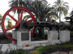 Máquina de vapor de la antigua fábrica de azúcar de Torre del Mar. Gestionada por la familia Larios, la fábrica empleaba a más de 300 trabajadores