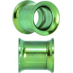 00 Gauge Green Anodized Titanium Steel Screw Fit Tunnel Plug Set
