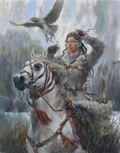 Alush woman with a horse and hawk. Amazons Women, Mounted Archery, Warrior Paint, Native American Images, Female Armor, Female Fighter, Warrior Girl, Fantasy Women, Indian Paintings