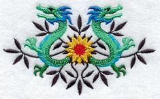 Dragons and Flowers design (A5703) from www.Emblibrary.com