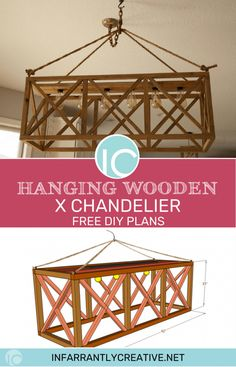Hanging X Wood Chandelier with DIY plans