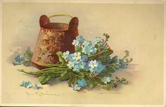 vintage, forget-me-not, greeting card, card, felicitation, blue flower, vintage flower, free vintage, free download, free clip art, blue forget-me-not,
