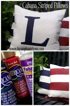Under The Table and Dreaming: Painted Cabana Striped Pillows {Incredibly Easy ~ No Sew}