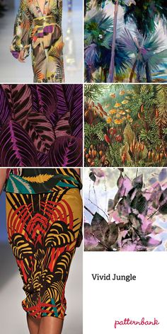 "Spring/Summer 2013-""Vivid Jungle""-Tropical vegetation focus ~ Photo-real jungle scenes ~ Micro and large-scale tropical flower studies ~ Watercolour textural effects ~ Symmetrical prints ~ Fern leaf overlap pattern forms ~ Engineered tropical placements ~ Distorted jungle prints"