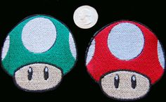 Supero Mario Brothers mushroom inspired Patch by PetticoatPinups, $5.00