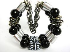 The Warrior Cuff Bracelet  Obsidian Chain by LyndaHayesDesigns,