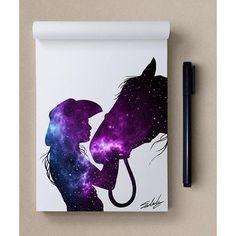 Star themed a Galaxy Painting, Galaxy Art, Beautiful Drawings, Cool Drawings, Galaxy Drawings, Desenho Tattoo, Horse Drawings, Spray Paint Art, Silhouette Art