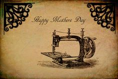 Vintage Sewing Machine, Mother's Day Card Colour Digital Fine Art Photography Instant Digital Download Card Flowers Candles Postcard by DelightGallery on Etsy